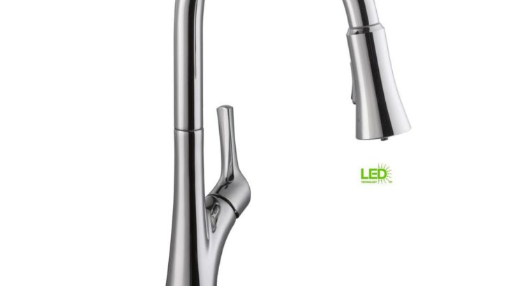 Single-Handle Pull-Down Sprayer Kitchen Faucet with LED Light in Chrome $90 was <strike>$139</strike>