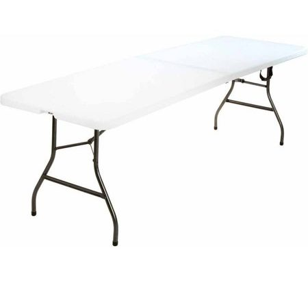 8 Foot Centerfold Folding Table, White